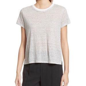 ATM White Black Striped Short Sleeve Top